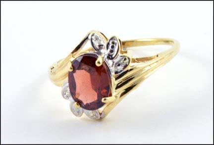 Oval Garnet and Diamond Ring in 10K Yellow Gold LARGE