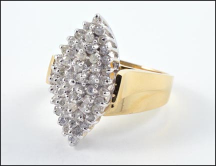Diamond Cluster Ring in 14K Yellow Gold LARGE