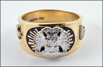 Men's Masonic Ring in 14K Yellow and White Gold LARGE