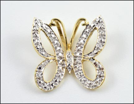Diamond Butterfly Pendant in 10K Yellow Gold