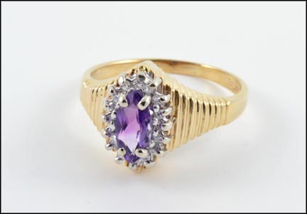 Marquise Cut Amethyst Ring in 10K Yellow Gold LARGE