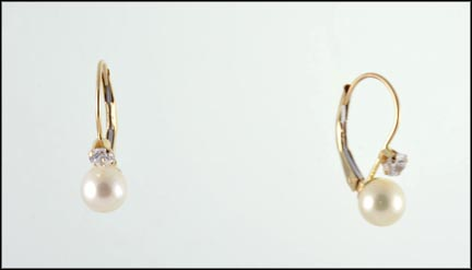 5 mm Pearl Cubic Zirconia Earrings in 10K Yellow Gold