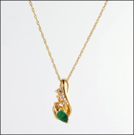 Marquise Cut Emerald Pendant in 14K Yellow Gold