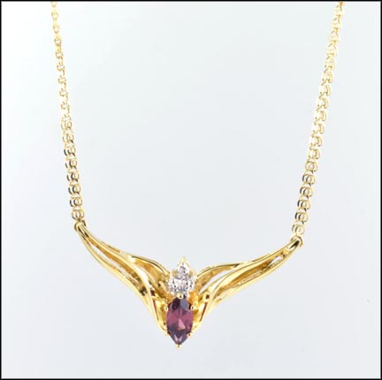 Marquise Cut Garnet Necklace in 10K Yellow Gold_LARGE