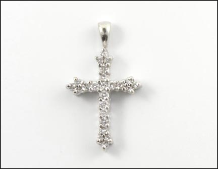 Diamond Cross Pendant in 14K White Gold LARGE