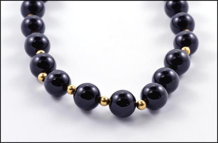 Onyx and Gold Bead Necklace in Yellow Gold
