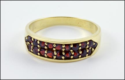 Garnet Band Ring in 14K Yellow Gold