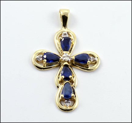 Kyanite Cross Pendant in 10K Yellow Gold