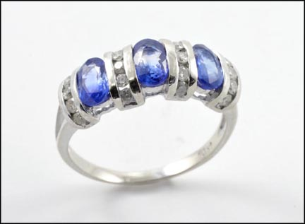 Three Sapphire Ring in 14K White Gold