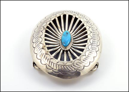 Turquoise Ray Bennett Navaho Belt Buckle in Sterling Silver