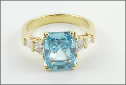 Blue and Clear Cubic Zirconia Ring in 14K Yellow Gold