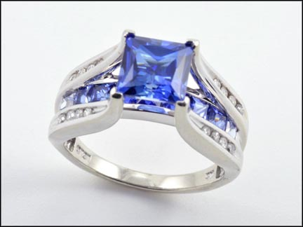 Synthetic Blue Stone Ring in 10K White Gold
