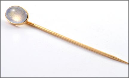 Moonstone Stickpin in 14K Yellow Gold LARGE