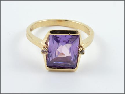 Synthetic Purple Stone Ring in 14K Yellow Gold LARGE