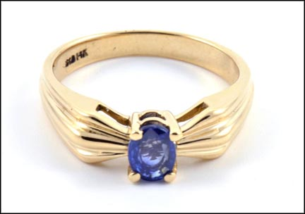 Sapphire Ring in 14K Yellow Gold LARGE