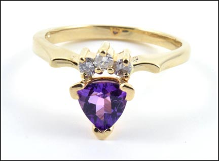 Trillion Cut Amethyst and Diamond Ring in 14K Yellow Gold LARGE