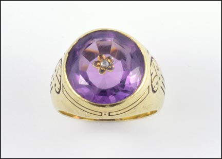 Amethyst Ring (engraved) in Yellow Gold LARGE