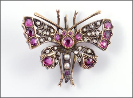 1880-90 Moth Brooch in Sterling Silver and Gold LARGE