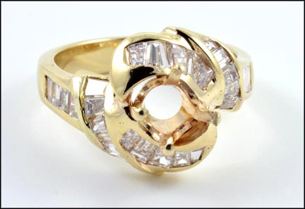 Diamond Ring Mounting in 14K Yellow Gold LARGE