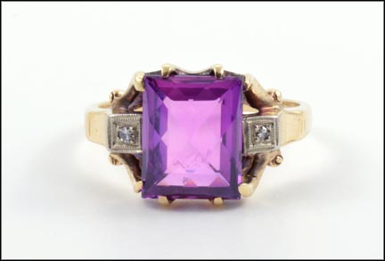 Synthetic Purple Stone and Diamond 1940's Ring in 10K Yellow Gold LARGE