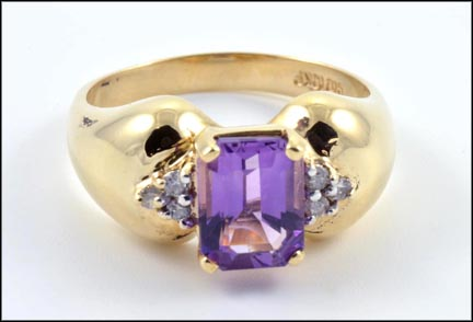 Amethyst Ring with Diamond Accents in 10K Yellow Gold LARGE