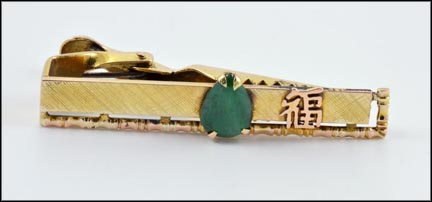 Jade Tie Bar in 14K Yellow Gold LARGE
