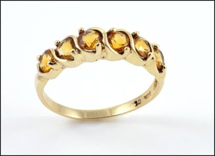 6 Stone Citrine Ring in 10K Yellow Gold LARGE