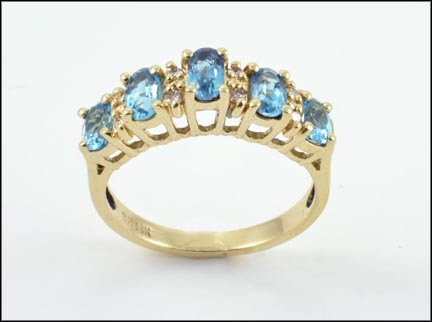 5 Stone Blue Topaz and Diamond Ring in 10K Yellow Gold LARGE