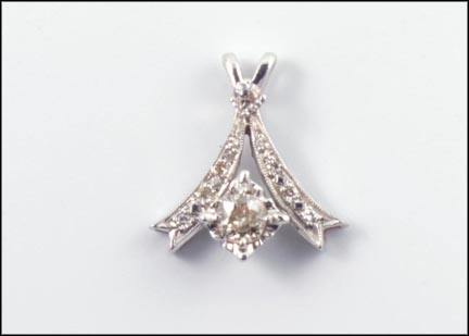 Edwardian Pendant with .18 ct. Center Diamond in White Gold LARGE