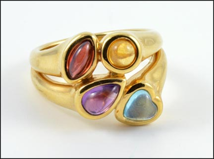 Amethyst, Garnet, Citrine and Topaz Ring in 14K Yellow Gold LARGE