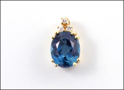 Blue Topaz and Diamond Pendant in 14K Yellow Gold_LARGE