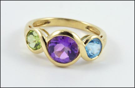 Amethyst, Peridot and Topaz Ring in 14K Yellow Gold LARGE