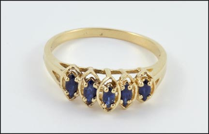 5 Stone Iolite Ring in 10K Yellow Gold LARGE