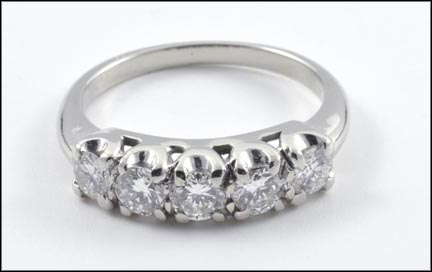 5 Stone Diamond Band in 14K White Gold LARGE