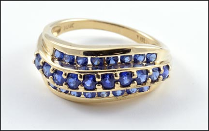 3 Row Iolite Ring in 10K Yellow Gold LARGE