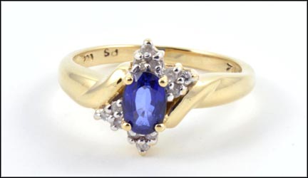 Sapphire and Diamond Ring in 14K Yellow Gold LARGE