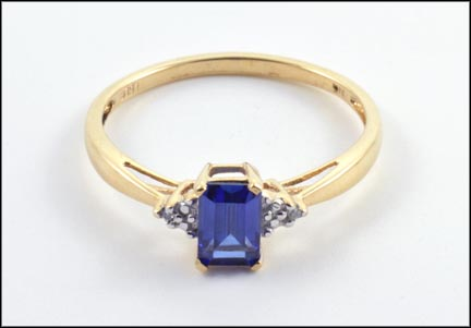 Synthetic Blue Stone Ring in 10K Yellow Gold LARGE