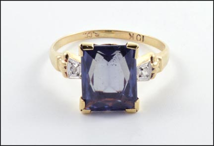 Synthetic Alexandrite 1940's Ring in 10K Yellow Gold LARGE