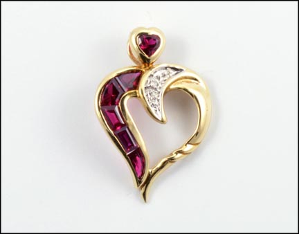 Synthetic Ruby Heart Pendant in 14K Yellow Gold LARGE