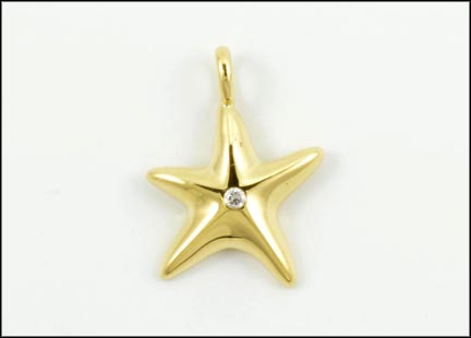 Tiffany Star Diamond Pendant in 18K Yellow Gold LARGE