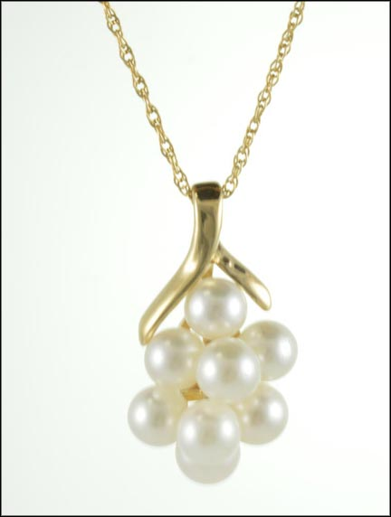 Necklace with Pearl Cluster in 14K Yellow Gold LARGE