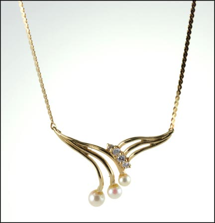 Pearl and Diamond Spray Pendant in 14K Yellow Gold LARGE