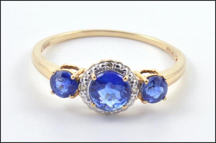 Iolite Three-Stone Ring in 10K Yellow Gold LARGE