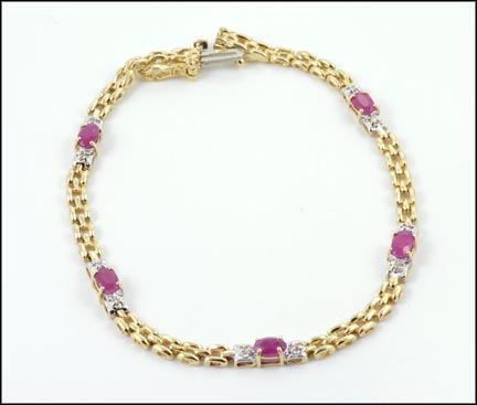 Ruby Bracelet in 10K Yellow Gold LARGE