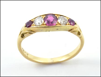 Ruby and Diamond Band in 18K Yellow Gold LARGE