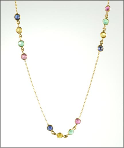 Ruby, Emerald, Sapphire and Topaz Station Necklace in 18K Yellow Gold LARGE
