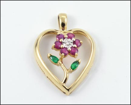 Ruby Flower Heart Pendant in 14K Yellow Gold LARGE