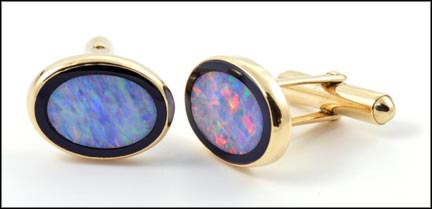 Inlaid Opal Cufflinks in 14K Yellow Gold LARGE