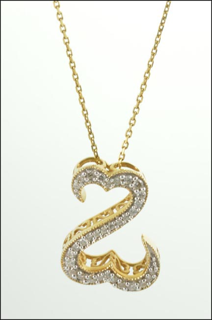 Open Heart Diamond Necklace in 14K Yellow Gold LARGE
