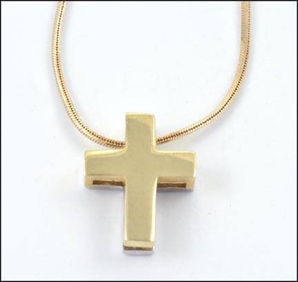 Necklace with Two-Tone Cross in 14K Yellow Gold LARGE